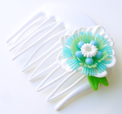 White, Blue and Green Vintage Flowers Hair Comb / Barrette