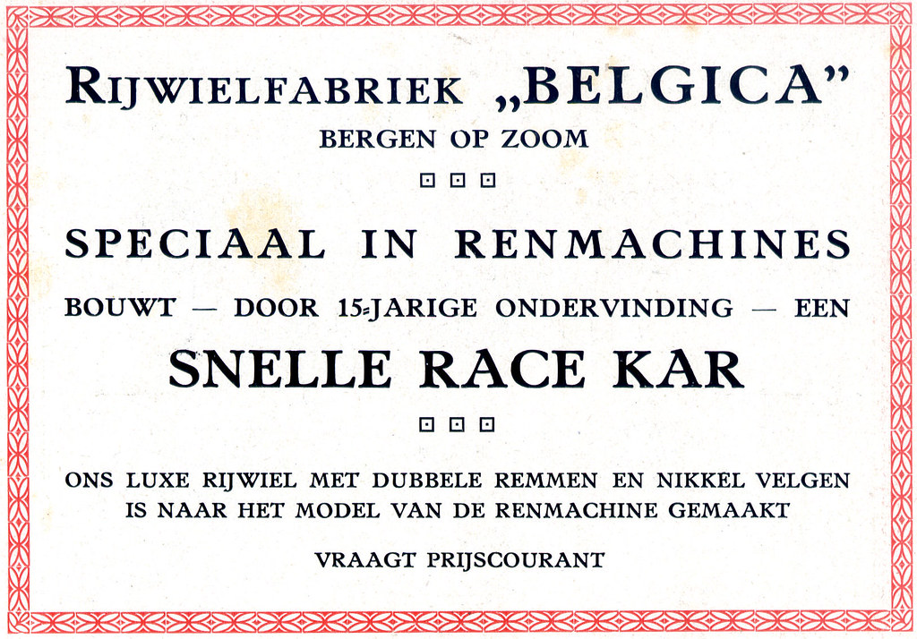 Dutch Bicycle History: Belgica Renmachines