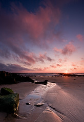 Kingsbarns Sunrise (David Kendal) Tags: pink seascape beach sunrise dawn sand stream fife sandy shoreline seashore channel daybreak kingsbarns eastneukoffife eastneuk cambosands excellentphotographerawards goldstaraward thelecks camboness