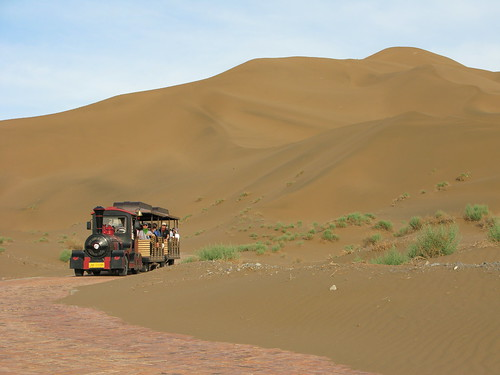 Hiking in the sand dunes near Shanshan, Xinjiang Province, China