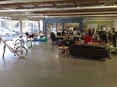 Inside Friendfeed, a former car mechanics garage that was converted in web boom