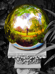 My Own Little World (PhotosByDavid) Tags: sculpture selfportrait reflection mirror sphere soe partialblackandwhite selectivecolorization supershot flickrsbest gazeball abigfave anawesomeshot flickraward shutterbox myownlittleworld canonpowershotsx200is