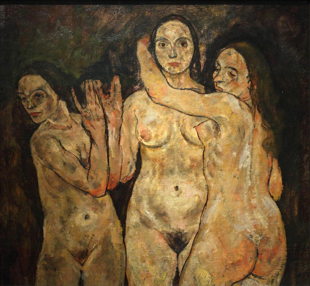 Egon Schiele, Drei stehende Frauen (Fragment) [Three Standing Women (Fragment)], 1918