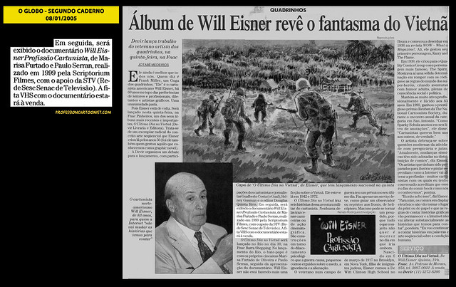 """Álbum de Will Eisner revê o fantasma do Vietnã"" - O Globo - 08/01/2005"