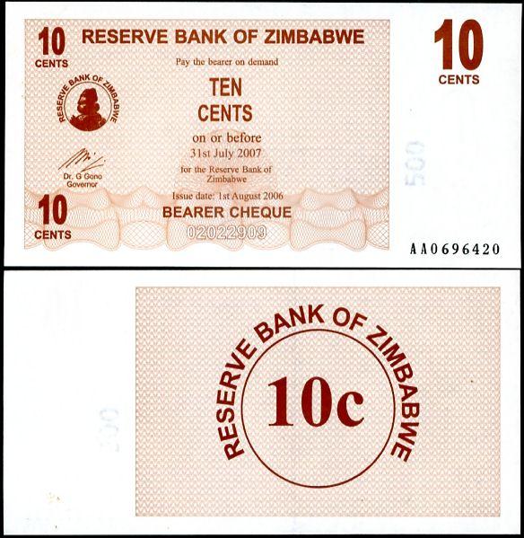 10 Centov Zimbabwe 2006, P 49