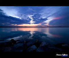 Reflection on the lake (Thomas Teffaine Photographie) Tags: sunset sun lake france water photoshop canon lens landscape mac focus eau exposure lac sigma reflet c