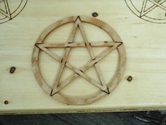 Wiccan Altar Scrolled pentacle (dragonoak) Tags: wood witch altar pentagram occult wicca pentacle pagan wiccan