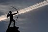 Shooting for the sky (Mark Rutter) Tags: sky sculpture silhouette sweden stockholm diagonal bow carl shooting concept conceptual jettrail milles i120 explored diamondclassphotographer duelwinner bågskytten