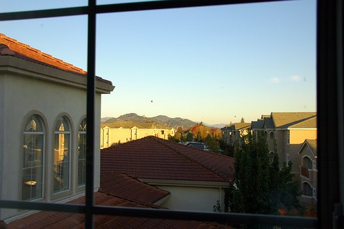 our hotel room window in napa - there were hot air balloons outside