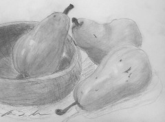 Three Pears & A Wooden Bowl