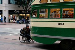 Alternative Transportation (Jeremy Brooks) Tags: sanfrancisco california portrait white green person wheelchair muni transit marketstreet fline 1051 msr2009calendarcontest 2014msrcalendar