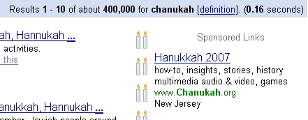 Google Adwords Chanukah Theme