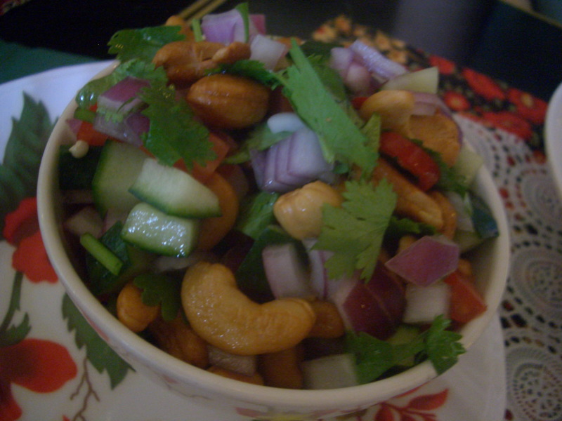Spicy cashew, tomato, cucumber and coriander salad