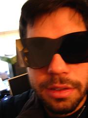 Hayden in disposable sunglasses