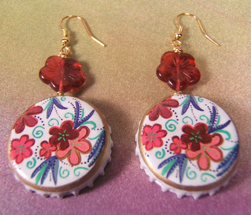 floral red earrings 2 by yayascaps.