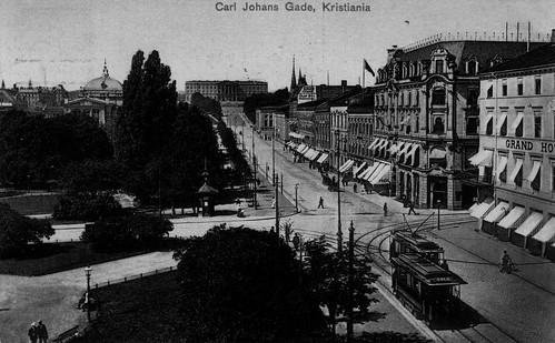 Kristiania - Carl Johans Gade ca. 1908