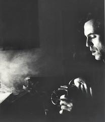 Self-Portrait (Mohav [Trafficante di Sarde]) Tags: blackandwhite selfportrait contrast darkroom smoke profile hasselblad autoritratto fiber ilford biancoenero fumo contrasto nikonf4 kodaktmax profilo nikon50mmf18 cameraoscura silverprint ritrattidiof baritata questaèlafacciachefaiquando quandoche tuttacolpadiquestafoto