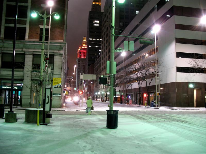 Downtown in the snow.