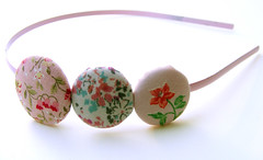 Flowery Pink Buttons Headband
