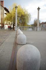 Bollards! Cevljarski most, Ljubljana, twilight (isoglossia) Tags: bridge most ljubljana trafficcontrol bollards ljubljanica cevljarskimost