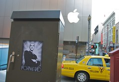 Forward ( Obama Apple ) (Steve Rhodes) Tags: sanfrancisco california ca streetart art apple yellow poster logo election taxi may applestore 2008 campaign stockton obama forward applelogo codysbooks barackobama may2008 sanfranciscoapplestore election08 obama08 campaign08