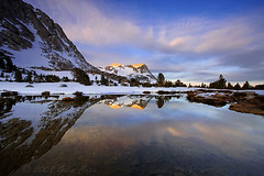 Vogelsang (copeg) Tags: california park lake snow reflection clouds sunrise fletcher spring high view scenic sierra national backpacking yosemite alpenglow vogelsang naturesfinest yosemiteblogcom specland