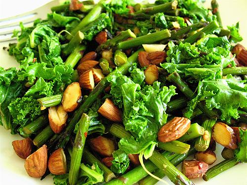 almond asparagus kale