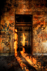 Doorway to Nowhere (country_boy_shane) Tags: lighting windows light red urban orange brown sun mist hot west brick green texture abandoned rotting station fog architecture danger photoshop sunrise wonder fire hope office rust warm glow shane decay michigan quality side homeless detroit central neglected basement wave fringe save marks adventure burnt restore heat flashlight weathered glowing rays lovely decrepit avenue filth exploration shame discovery shatter hdr mcs decayed treasures trespassing ue lightroom gorski bagley canonefs1022mmf3545usm canon30d texturize