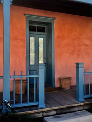 Tucson Barrio Viejo - Front Porch (thePhotographerRaVen) Tags: tucson arizona territorial barrio viejo 1890 frontporch blue doorway photograph apple iphone photosbyraven