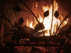 Soothing, Comforting, And Inspiring... (Chic Bee) Tags: fireplace hearth screen rainy winter scene