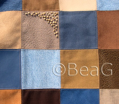 Brown and Blue (Bruin en Blauw) (Made by BeaG) Tags: blue brown bag beads colorful blauw belgium squares recycled sewing belgi sew fabric colourful patchwork recycle leftover sewn shoppingbag bruin kleurrijk reuse reused naaien vierk