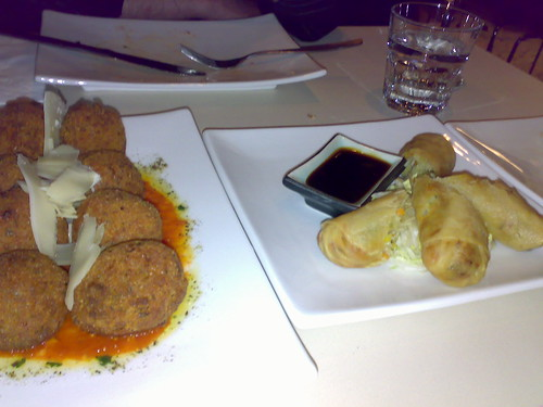 Double arancini and Spring Rolls