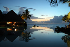 disappearing edge infinity pool at sunset with pool bar tahiti (Duncan Rawlinson - Duncan.co) Tags: reflection tree pool night hotel evening amazing calm best palm serene tahiti poolbar hotelpool disappearingedgepool awesomehotelpool besthotelpoolbarever
