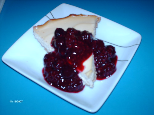 Almond Cheese Cake with Mixed Berry Sauce