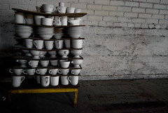high tea (Diana Pappas) Tags: china abandoned mugs pittsburgh pa cups website etc portfolio bowls jenga beaverfalls nowdemolished chinafactory