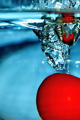 fall of the tomato II (schoebs) Tags: blue red water tomato bubbles falling dropping 40d colourartaward artlegacy schoebs