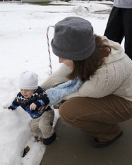 Ian touching snow for the first time
