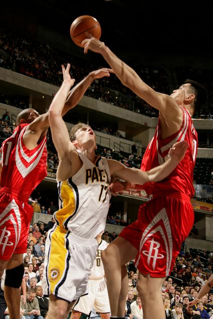 Yao Ming blocked Mike Dunleavy's layup attempt with 4 minutes remaining in the Rockets' game against Indiana.  Although Yao 'only' scored 17 points in the game, this block was huge since the Rockets were still trailing at the time 99-97.  Rookie Carl Landry scored a game-high 22 points to help the Rockets pull out a close game in the fourth quarter.