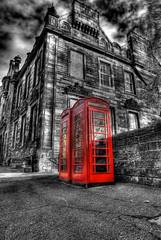 Telephone boxes - selective (elementalPaul) Tags: red bw phone pentax tripod hdr phonebox publictelephone 5xp britishphonebox k10d