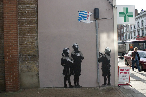 Photo of Banksy piece on Essex Road, London