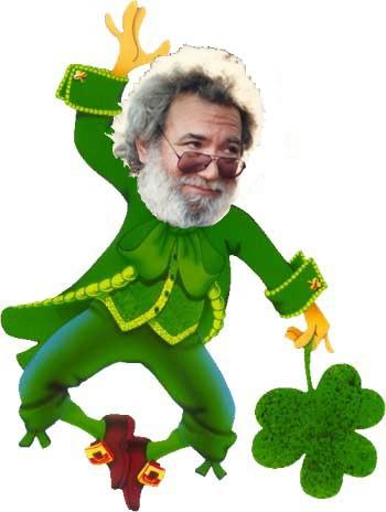Jerry Garcia of the Grateful Dead as a leprechaun ... image heisted from somebody somewhere, I forget where.