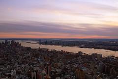 Sunset over New York. (Arun Jr) Tags: sunset newyork bay sony empirestatebuildings alpha700 arunjrk