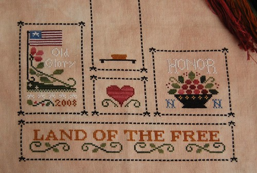 """Heart of America"" close up of stitching"