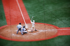 Batter Up (the woodstove) Tags: red blur game green home rivalry lines japan photoshop miniature chalk fake plate tiny annual niko catcher dust sendai miyagi ichiko batter umpire imposter tiltshift d80 rakutaneagles kleenexstadium