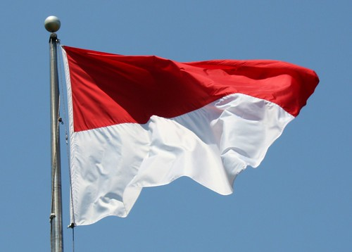 The Indonesian flag, with the red symbolizing bravery, and the white