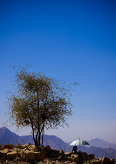 Old man with umbrella in the hills - Yemen (Eric Lafforgue) Tags: blue sky arabia yemen arabian ramadan 6150 lafforgue arabiafelix  arabieheureuse