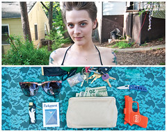 Lindsey Diptych (J Trav) Tags: portrait sunglasses keys persona diptych wallet lindsey whatsinyourbag lighter cigarettes pocketknife twenties plasticgun nikond90 theitemswecarry