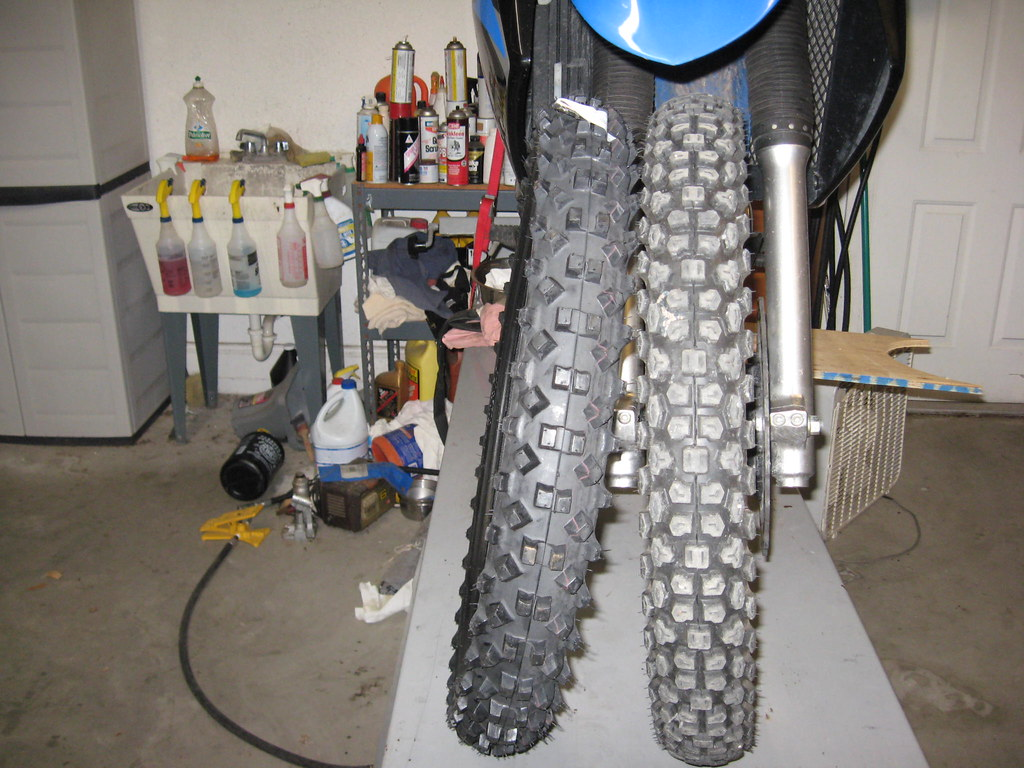 Swapping front tires on my KLR