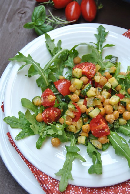 Chickpea and Zucchini Salad with Tomatoes and Arugula