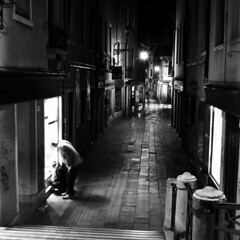 Venice (Peter Gutierrez) Tags: street venice light shadow bw italy white black streets building tlr film public architecture night contrast buildings dark square lens evening noche photo reflex italian europe italia european republic nocturnal time nacht pavement g capital twin sidewalk 124 nighttime 124g latin gutierrez venetian format serene region venezia nuit noctur